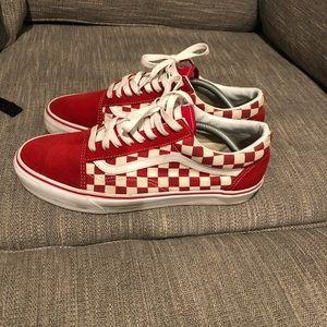 Old school vans red checkerboard